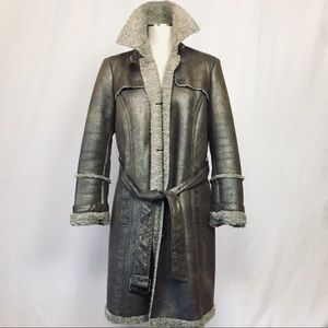 Boho sparkly shearling trench